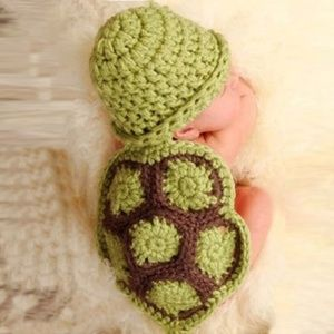 Other - Soft Knitted Baby Turtle Hat Onesie Prop 0-4 Mo